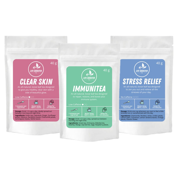 Trio Deal Pack: Immunitea, Clear Skin, Stress Relief - Life Booster Tea