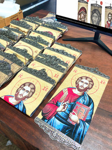 Jesus Christ Pantocrator Colored Icon-ikons store