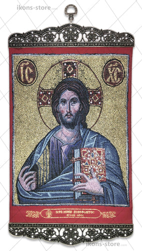 Jesus Christ Pantocrator in Red Background Icon-ikons store