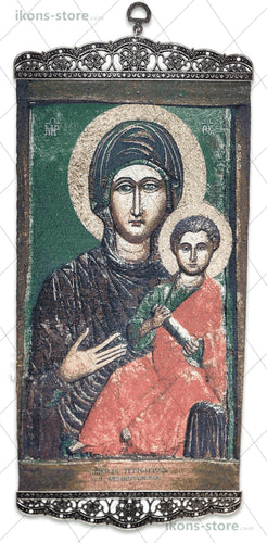 Virgin and Child Green Background Icon-ikons store