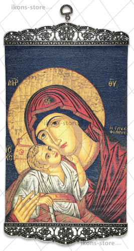 Virgin Mary Eleusa in Blue Icon-ikons store