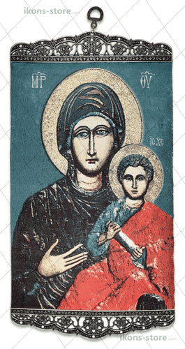 Virgin and Child Blue Background Icon-ikons store