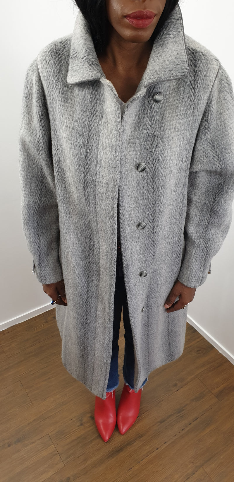 Manteau long gris - T.F.T Vintage Shop