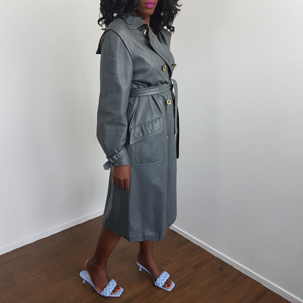 Trench long en cuir