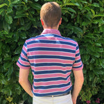 Lacoste Striped Polo Shirt Pink
