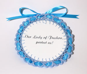 Delicate Crochetwork Medallion - Handmade by the Nuns: Our Lady of Frechou