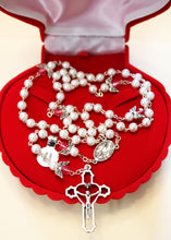 Load image into Gallery viewer, Deluxe Red Velvet Optional Coquille St. Jacques Rosary Box for Your Unique Gift; brought to you by Saint Mickael