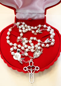 Deluxe Red Velvet Optional Coquille St. Jacques Rosary Box for Your Unique Gift; brought to you by Saint Mickael