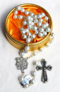 Fine Generous Set of Fatima Rosary Beads, Faux Pearls & Lace Effect