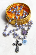Fine Generous Set of Fatima Rosary Beads, Purple Faux Pearls & Lace Effect