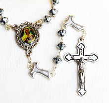 Load image into Gallery viewer, Metal bead Handmade Rosary with Our Lady of Frechou & the Ecce Homo