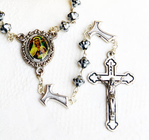 Metal bead Handmade Rosary with Our Lady of Frechou & the Ecce Homo