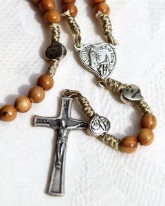 Simple String and Wood Handmade Rosary with Small Hearts
