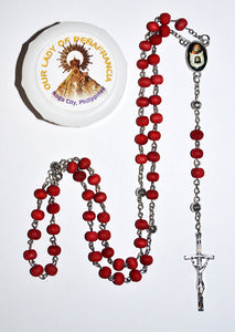 Rose Wood Scented Rosary Beads - Our Lady of Peñafrancia