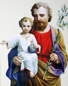 Beautiful Canvas-Like Picture of Saint Joseph and the Child Jesus