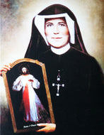 Beautiful Canvas-Like Picture of Saint Mary Faustina Presenting Jesus Merciful