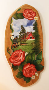 Country Barn on Natural Wood - Hand-Painted by the Nuns