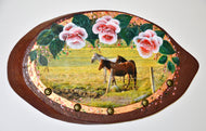 Trio of Lovely Horses with Flowers on Natural Wood - Hand-Painted by the Nuns