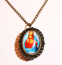 Load image into Gallery viewer, Vintage Oval Religious Pendant Watch