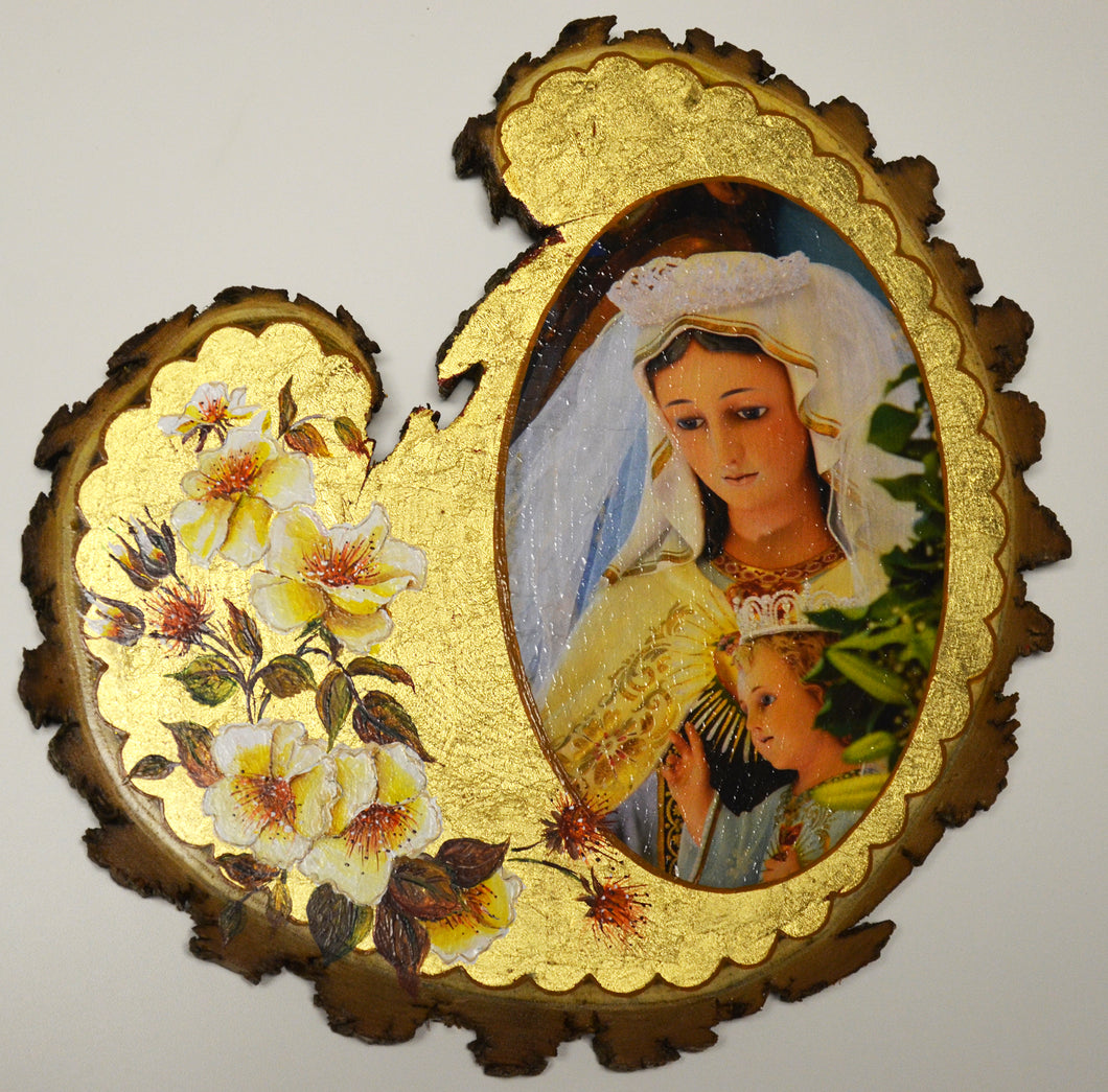 Delicate Artisan Work from the Hermitage: Our Lady of Frechou Wall Plaque on Real Wood
