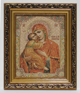 Blessed Mother with Child Jesus Tapestry Style Picture Frame