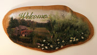 Country Mill Welcome Sign on Natural Wood - Hand-Painted by the Nuns