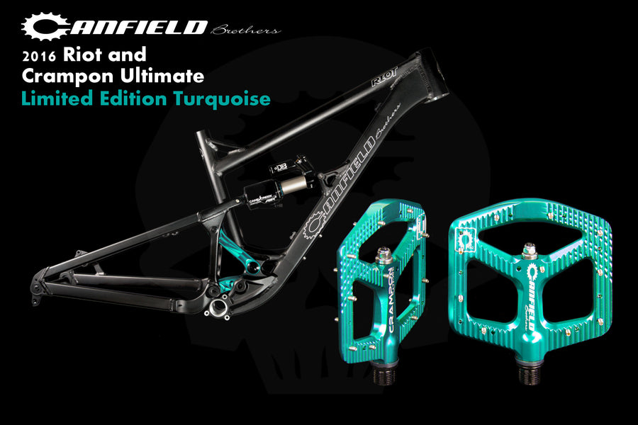 Limited Edition Turquoise Canfield Riot 29er Trail Bike and Crampon Ultimate Flat Pedal Package
