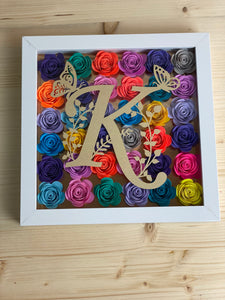 Rolled Flower Shadow Box with Personalized Letter-Home Decor-Sunny Ohana