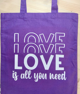 Love Love Love Purple Canvas Tote - Sunny Ohana Creations