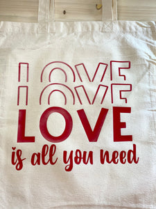 Love Love Love Natural Canvas Tote - Sunny Ohana Creations