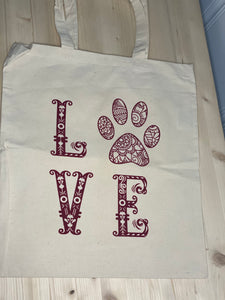 Love Dog Paw Natural Canvas Tote - Sunny Ohana Creations