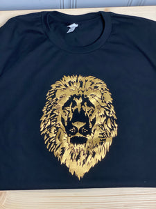 Gold Lion Head Black Short Sleeve T-Shirt-Shirt-Sunny Ohana