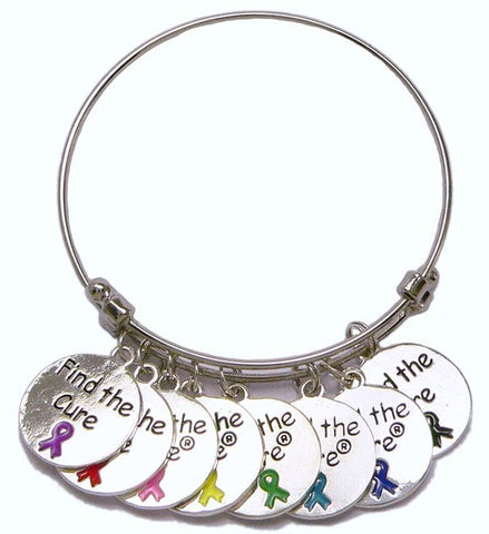 Find the Cure Multi-Ribbon Token Coin Bracelet - Multi Ribbon Bracelet