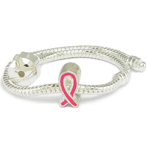 Red Enamel Silver Gilt Ribbon Support Charm & Bracelet - 7 Inches - Pandora Compatible
