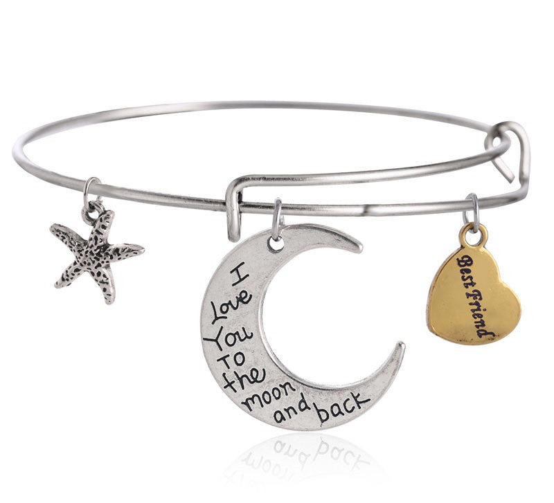 For a BEST Friend! Adjustable DIY Charm Bracelet - Silver & Gold Tone Charms