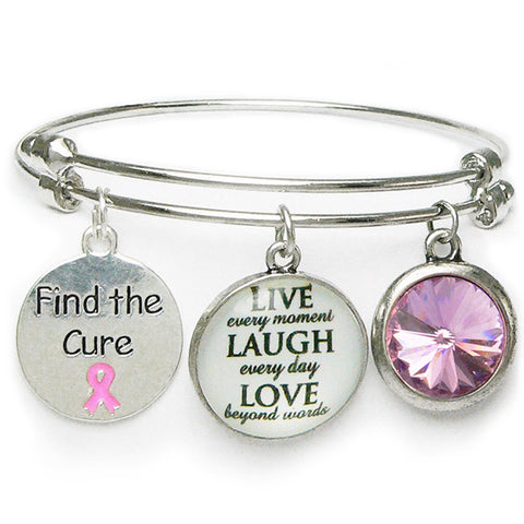 Find the Cure Breast Cancer Token Coin Bracelet - Adjustable Bracelet