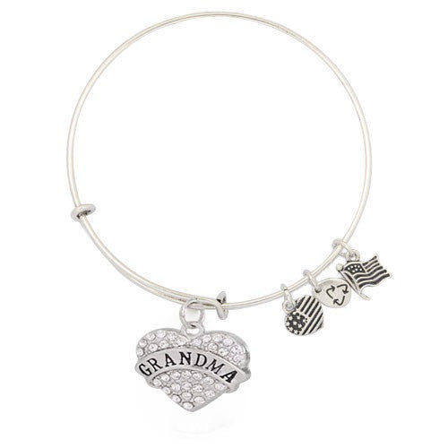 Grandma's Crystal Heart Adjustable DIY Charm Bracelet