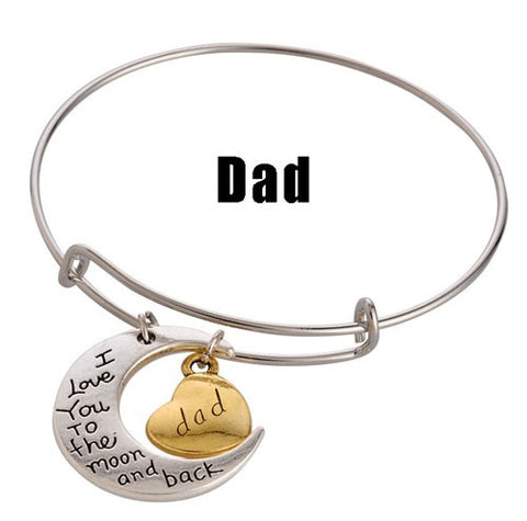 Dad Adjustable DIY Charm Bracelet - Silver & Gold Tone