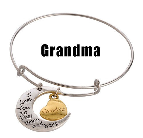 Grandma Adjustable DIY Charm Bracelet - Silver & Gold Tone