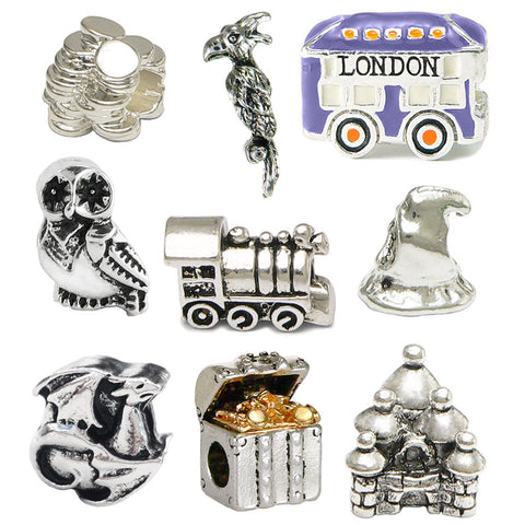 Harry Potter Inspired Nine Charm Set - Pandora Style Compatible + Two Harry Potter 35mm Film Cells