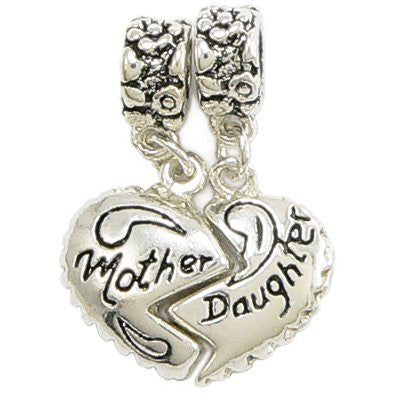 Silver Plated Halved Heart Mother & Daughter Hanging Charms - (TWO PIECES) Fits Pandora Bracelets