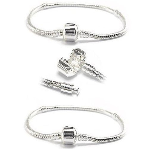 TWO Pandora Style Bracelets - Pandora Compatible for Name Brand Beads & Charms
