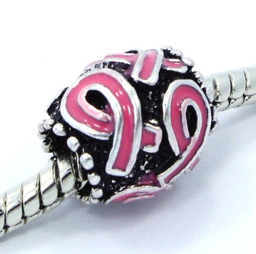 """Find the Cure"" Pink Barrel Charm - Pandora Compatible"