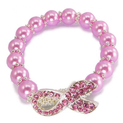 Stretchable Sideways Pink Crystal Ribbon Bracelet With Faux Pink Colored Crystals
