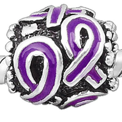 """Find the Cure"" Purple Barrel Charm - Pandora Compatible"