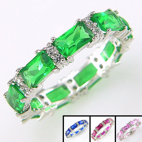 Eternity Band in Pink, Ruby Red, Emerald Green & Sapphire Blue