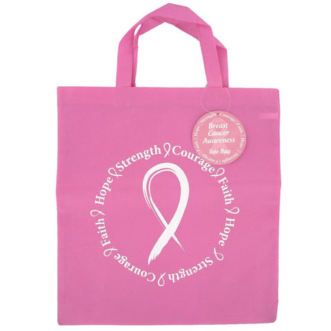 Breast Cancer Awareness Reusable Woven Tote Bag