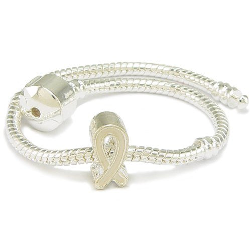White Enamel Silver Gilt Ribbon Support Charm & Bracelet - Pandora Compatible 8 Inches