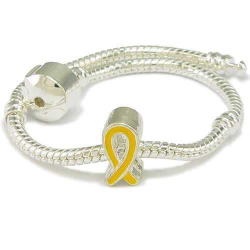 Yellow Enamel Silver Gilt Ribbon Support Charm & Bracelet - 7.5 Inches