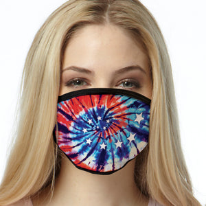 Tie Dye FACE MASK Red, White & Blue American Cover Your Face Masks